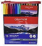 Caran d-Ache - FIBRALO BRUSH - Assortimento 15 Pennarelli Colorati acquerellabili 186.715