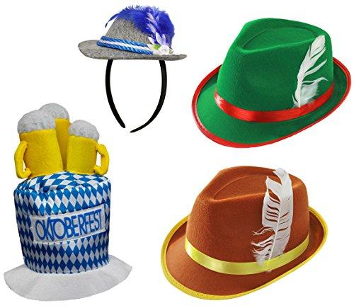 Bayrische Fasching +Karneval HÜTE= Bierfest= Verschiedene HÜTE der Tiroler/BAYRISCHEN Art = Ein Brauner Hut +GRÜNER Hut +Blauer Hut AN Haarreif +Schaumstoff BIERKRÜGE Hut (Verschiedene Arten Von Trachten)