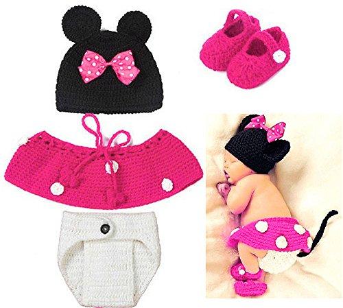 Baby Häkelkostüm Strick Kostüm Fotoshooting Babyfotos 4 tlg.Minnie Maus Pink