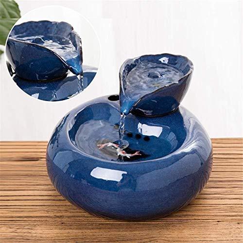 Katzen Trinkbrunnen Pet Wasser brunnen, Keramik Hund und Katze pet brunnen, pet wasserspender mit 6 stücke kohlefilter wasserschale, Ultra-leise pumpe 1,5 l (Color : Blue) - Hund Brunnen Wasserschale