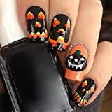 Nail Art ! AMA(TM) 6pcs Halloween Skull Bone Pumpkin Nail Art Sticker Watermark Tattoos Nail Art Tips (A)
