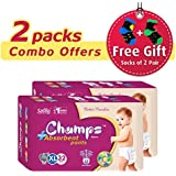 Champs High Absorbent Premium Pant Style Diaper (Pack Of 2)(Free 2-Pair Socks)| Premium Pant Diapers | Premium Diapers | Premium Baby Diapers | Anti-rash And Anti-bacterial Diaper | (X-Large, 32)