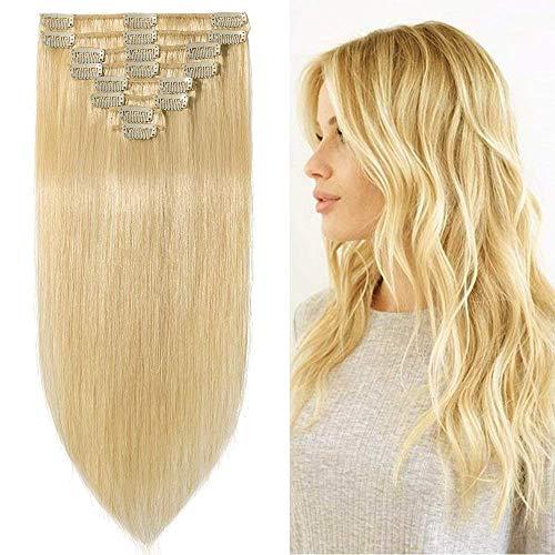 Clip in Extensions Echthaar Blond günstig Haarverlängerung Remy Echthaar 8 Tressen 18 Clips Glatt 45cm-100g(#613 Hell-Lichtblond)