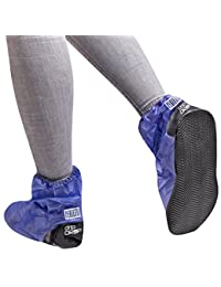 Waterproof shoe covers in PVC - sturdy and reusable - with anti-slip reinforced sole - overshoes protector against rain and mud - short model - Black / Blue