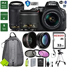 Nikon D5600 DSLR Camera 18-55mm VR Lens & Nikon 70-300mm + 0.43 Wide Angle Lens + 2X Telephoto Lens + 3PC Filter Kit (UV FLD CPL) + Tripod + Backpack + 1 Year Extended Warranty