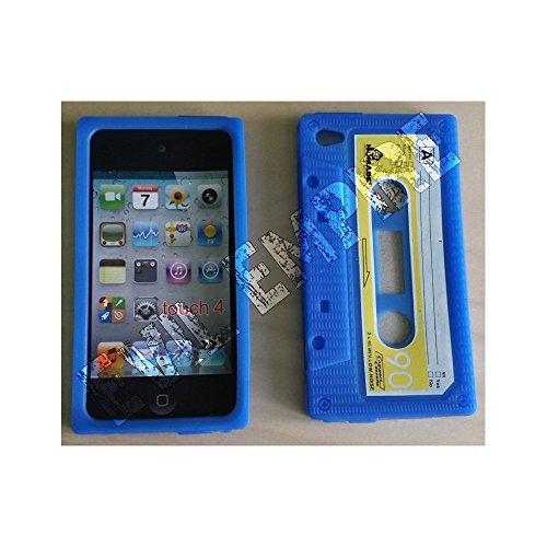 Schutzhülle für iPod Touch 4G, Silikon, Retro-Kassetten-Design, blau (Ipod 4g Schutzhülle)