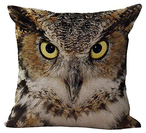 Eeayyygch Leinen Mischung Tier Gesicht Digital Print Kissenbezug Baumwolle Pillowslip Platz...