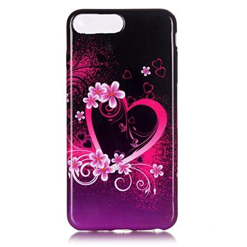 iPhone 7 Plus Hülle,iPhone 7 Plus Silikon Case,iPhone 7 Plus Cover - Felfy Ultra Dünne Weicher Slim Gel Flexible Soft TPU Silikon Hülle Schutzhülle Silikon Hülle Blumen Muster Farbmalerei Beschützer H Romantische Blumen