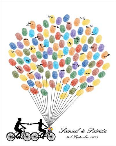 qidushop Hochzeits-Gästebuch Alternative, Silhouette Fingerabdruck Gästebuch Fingerabdruck Hochzeit Gästebuch Fahrrad Tandem Bike - Hochzeit Fahrrad