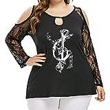 LuckyGirls Tee Shirts Femme Chic Mousseline Fleur Dentelle Patchwork Haut Épaules Nues Tops Décontractée Loose Blouse T-Shirts - Maxi - 5XL (5XL, Noir F)