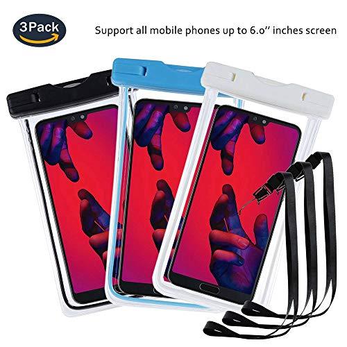 pinlu® 3 Pack IPX8 Wasserdichte Tasche, für Smartphones bis 6 Zoll, für Doogee Nova Y100X, Doogee Kissme DG580, Doogee Valencia2 Y100 Pro, sandproof Protective Shell -Schwarz+Weiß+Blau