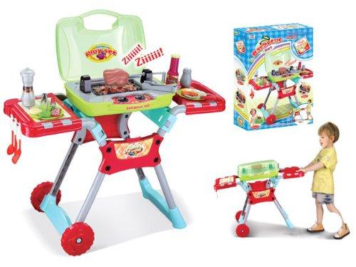 Spielzeug-Grill-Set für Kinder mit Geräuschen und Licht - BBQ-Zubehör - Rot