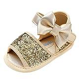 Huhu833 Babyschuhe, 2 Pcs Baby Mädchen Schuh Anti-Rutsch-Weiche Sohle Kleinkind Schuhe+ Stirnband (12~18 Month, Gold 3)