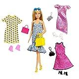 Barbie Bambola con 4 Outfit Diversi e Accessori, Giocattolo per Bambini 3 + anni, GDJ40