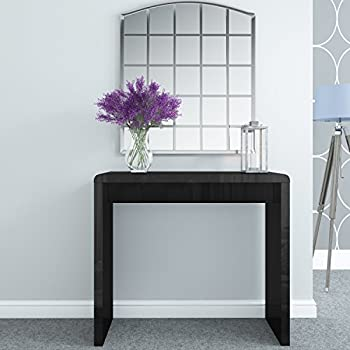 Black High Gloss Narrow Hall Console Table  Modern Design  FREE UK Delivery
