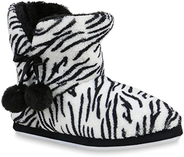 Stiefelparadies Damen Hausschuhe Pantoffeln Warm Gefüttert Flandell