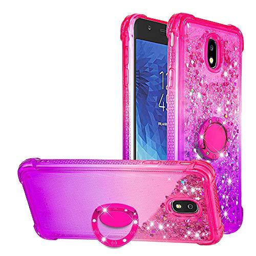 WIWJ Kompatibel mit Samsung Galaxy J7 2018 US-Version Hülle Flüssiger Glitzer Treibsand Handyhülle 360 Grad Ring Halter Ständer Mädchen Schutzhülle Weich Silikon TPU Transparent Tasche-Pink Lila