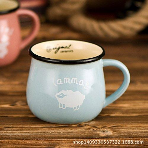 JIA Trommel Keramik Tasse Milch Tasse Frühstückstasse,Blau,Einheitsgröße (Keramik-trommel)