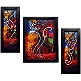Indianara Ganesha Rectangular Synthetic Wood Art Painting (35 cm x 28 cm x 3 cm, Set of 3)
