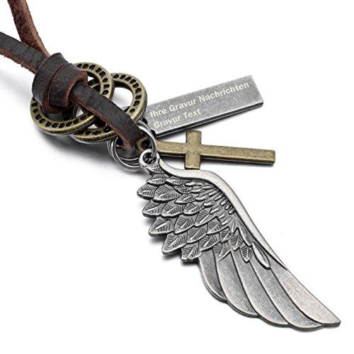 MeMeDIY Silber Ton Braun Metalllegierung Legierung Echtleder Anhänger Halskette Kruzifix Kreuz Engel Flügel Einstellbar Verstellbaren ,mit Kette - Kundenspezifische Gravur