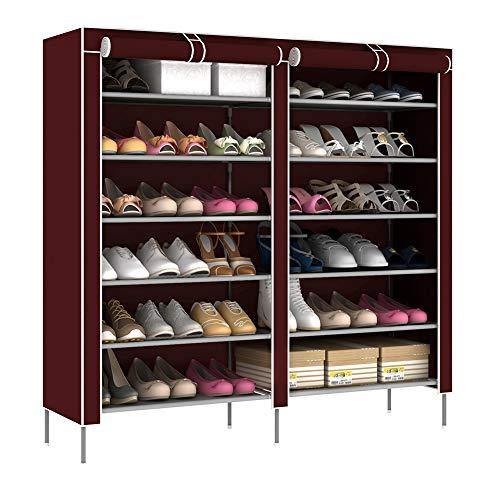 Armoire à chaussures simple double rangée 7 couches grande capacité armoire à chaussures augmenter le rack de chaussures Suréhauter,Brown