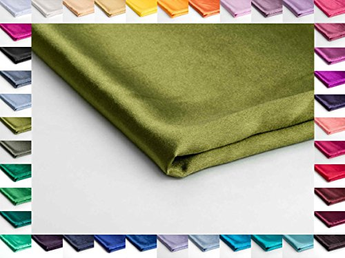 Satin-Stoff ohne Lycra Seidig, Schneiderei Dekostoff - Erhältlich in verschiedenen Farben - 50 x 150cm (Faules Grün Nr 49) (Arabische Kostüm Name)