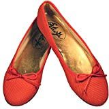 Petruska Ballerinas Marrakesch Rot-Koralle mit Schlangenprägung Leder Matt (42)