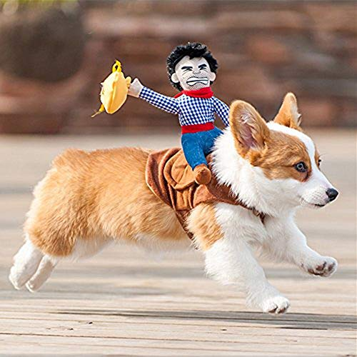 Ritter Hunde Kostüm - YOUNICER Haustier Hund Kostüm Cowboy Reiter Hund Kleidung für Hunde Outfit Ritter Stil w/Puppe Hut Haustier Kostüm S/M/L