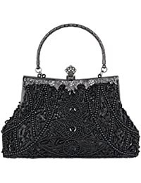 Ecosusi Exquisite Seed Bead Sequined Party Clutch Prom Bag Purse Evening Handbag (Black)