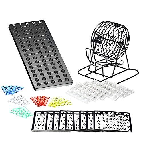 Bingo Spiel Set mit Bingotrommel aus Metall | 75 Kugeln | 18 Bingo Spiel Karten | 150 Bingochips | Ergebnisbrett | Gesellschaftsspiele | Lotto | Geschenkideen Spieleabend