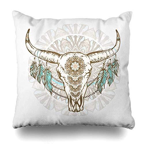 Klotr Fundas Almohada Bohemian Bull Wild Buffalo Skull