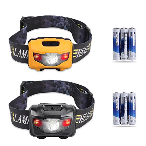 STCT 2-pack 3 Leuchtmodi CREE LED Taschenlampe mit roten Lichtern, Wasserdichte Stirnlampe zum Laufen, Camping, für Kinder, Reparaturen und mehr. Inkl. 3AAA Batterien (Orange und schwarz)