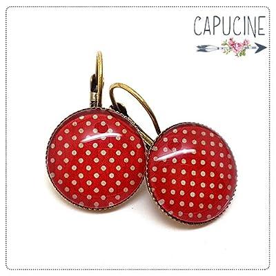 Boucles d'oreilles rouge à pois avec cabochon verre - Boucles d'oreilles dormeuses rouge à pois - Papier à pois Rouge - idée cadeau de Noël, cadeau d'anniversaire, cadeau de Saint Valentin