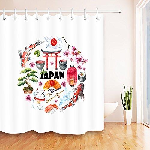 Japanische Kultur Koi Sakura-Laternenflagge Potting Polyestergewebe wasserdicht Badezimmer Dekor Duschvorhang Set mit 12 Haken,180x200cm (Badezimmer-set Sakura)