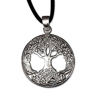 Anhänger Baum des Lebens Keltischer Lebensbaum Weltenbaum 925er Silber Schmuck Heilung mit Lederhalsband Schmucksäckchen und Karte 5500