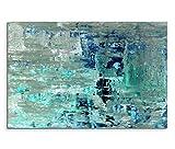 120x80cm Leinwandbild auf Keilrahmen Kunstmalerei blau grün abstrakt Wandbild auf Leinwand als Panorama
