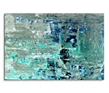 120 x 80 cm Canvas Art Painting Teal Abstract Canvas Wall Art Panoramic - Paul Sinus Art - amazon.co.uk