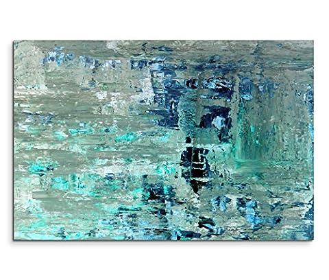 120x80cm Leinwandbild auf Keilrahmen Kunstmalerei blau grün abstrakt Wandbild auf Leinwand als