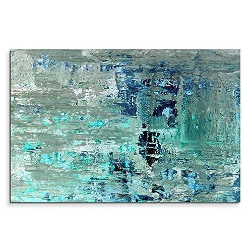 Tableau peinture abstrait - Wandbild petrol ...