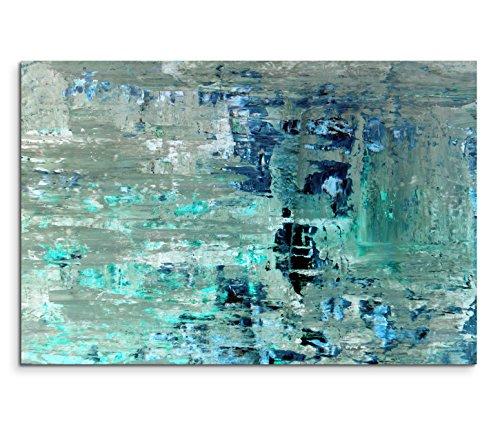 120x80cm Leinwandbild auf Keilrahmen Kunstmalerei blau grün abstrakt Wandbild auf Leinwand als Panorama (Abstrakte Bilder)