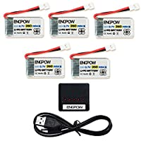 ENGPOW 3.7v 350mAh RC Drone Lipo Battery with X5 Charger for TOZO Q2020 Hubsan X4 H107C H107L HolyStone HS170 HS170C Walkera Super CP Genius MINI Quadcopter Drone 5pcs by ENGPOW