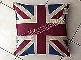 """Lovely Home-Cojín decorativo """"Flag"""" con bandera de Inglaterra UK, 42x 42 cm, relleno + funda con cremallera"""