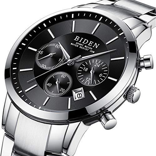 Orologio, orologio da uomo, casual impermeabile analogico al quarzo calendario data orologio con cinturino in acciaio INOX