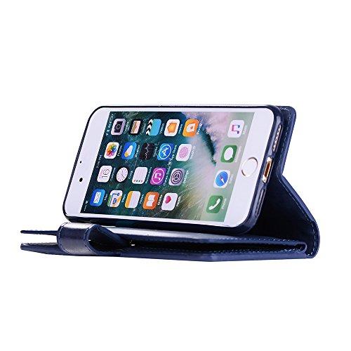 Badalink Hülle für iPhone 7 /iPhone 8 Zipper Rosarot Handyhülle Leder PU Case Cover Magnet Flip Case Schutzhülle Kartensteckplätzen Handytasche mit Eingabestifte und Staubschutz Stecker Blau