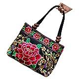 TOOGOO(R) Chinese Style Women Handbag Embroidery Ethnic Summer Fashion Handmade Flowers Ladies Tote Shoulder Bags Cross-body £¨Red Peony£©