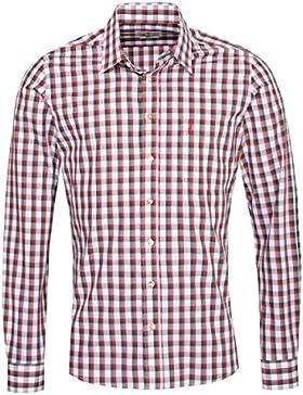 Almsach Trachtenhemd Otto Slim Fit Zweifarbig in Rot und Dunkelgrün Inklusive Volksfestfinder