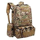 QHJ 55L Trekkingrucksack Wanderrucksack,Wandern Camping Bag Army Military Tactical Camo (E)