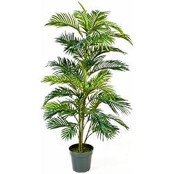 artplants Künstliche Areca-Palme JENNICA im Zementtopf, 39 Palmwedel, 150 cm - Kunstpalme/Dekopalme