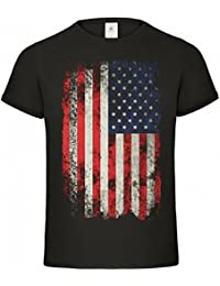 USA T-Shirt Flag Vintage style black S M L XL XXL