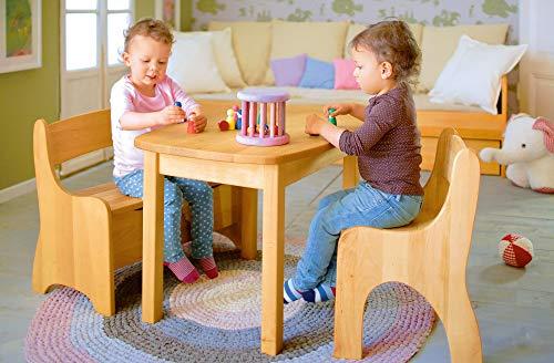 BioKinder 24786 Levin Kinderstuhl Holzstuhl Stuhl für Kinder aus Massivholz Erle und Kiefer 36 x 36 x 55 cm Flieder lasiert